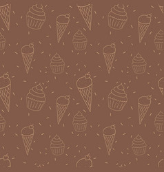 Seamless pattern with ice cream cones and cupcakes vector
