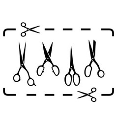 set black scissors and cut lines vector image vector image