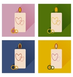 Set of flat icons with long shadow wedding candle vector