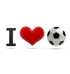 soccer or football ball and red heart vector image