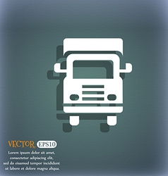 Transport truck icon On the blue-green abstract vector image