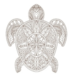 Turtle Zentangle Style vector image vector image