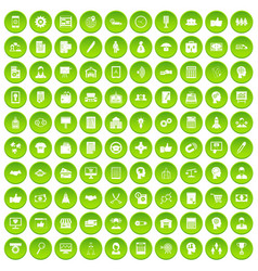100 business strategy icons set green vector