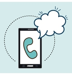 smartphone telephone cloud speak vector image
