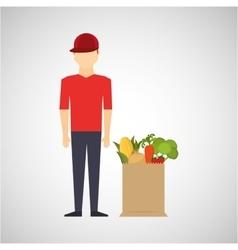 cartoon man red cap with shop bag healthy food vector image