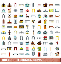 100 architectonics icons set flat style vector