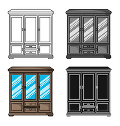 classical cupboard icon in cartoon style isolated vector image