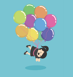 businesswoman flying with balloons over vector image