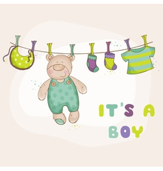 Baby bear shower or arrival card vector