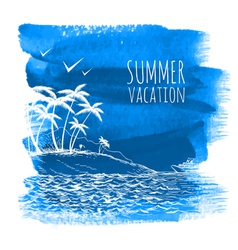 Blue summer watercolor background vector