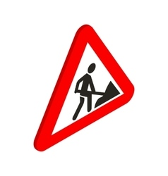 Roadworks sign icon isometric 3d style vector