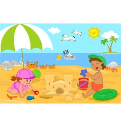 children playing at the beach vector image