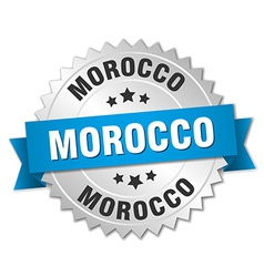 Morocco round silver badge with blue ribbon vector