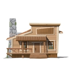 Wooden house with stone chimney in country style vector