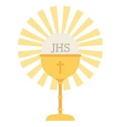 Cup gold chalice first communion icon vector