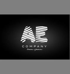 Ae a e letter alphabet logo black white icon vector