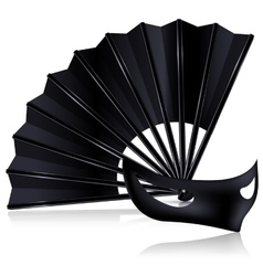 black fan and dark mask vector image vector image