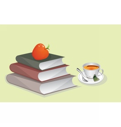 Books and cup of tea vector