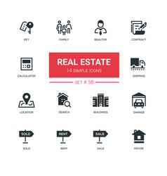 Business concept real estate - line design icons vector