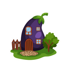 Cartoon with fairy house in form of vector