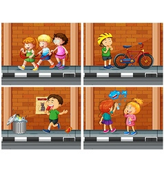 Children haning out on the sidewalk vector
