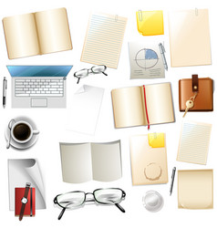 different office supplies on white background vector image