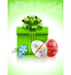 easter gift with bow flower vector image vector image