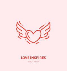 flying heart with wings fall in love vector image