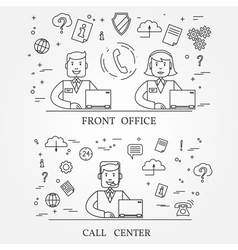 Front office and call center concept icon thin lin vector image