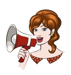 Girl with Megaphone vector image vector image