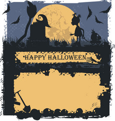 halloween greeting card with future witch vector image