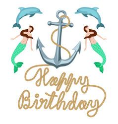 Happy birthday marine retro greeting card clip art vector