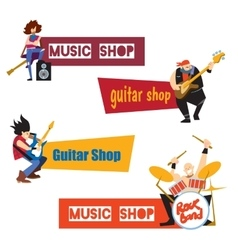 Music shop concept with musicians vector image vector image