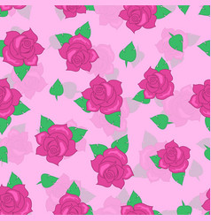 Pink rose with green leaf seamless pattern vector
