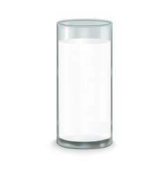 Realistic full milk glass vector