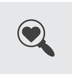 Search with heart sign icon vector image
