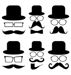Set mustache hats glasses vector image