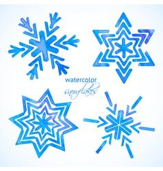 Set of watercolor snowflakes vector image vector image
