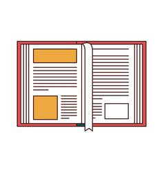 Silhouette color sections of open book with vector