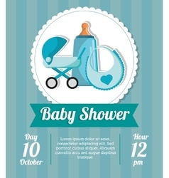 Stroller bottle and bib of baby shower card design vector