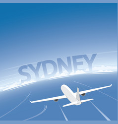 Sydney skyline flight destination vector
