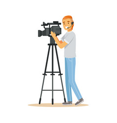 television video operator with camera on tripod vector image vector image