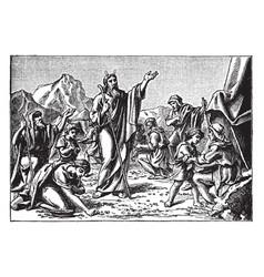 The israelites gather manna sent by god vintage vector