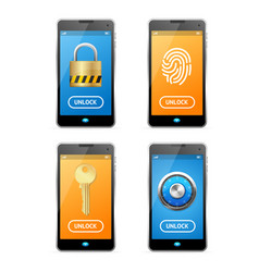 Unlock screen concept mobile ui set vector