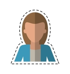 Woman business manager worker elegant cutting line vector