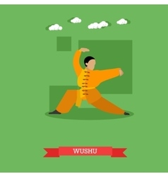 Wushu fighter shows his skills flat design vector