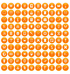 100 archeology icons set orange vector