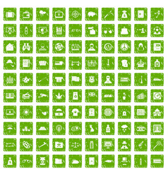 100 police icons set grunge green vector