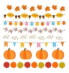 Set of cute autumn fall garlands with lights vector