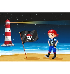 A pirate and the sea parola vector image
